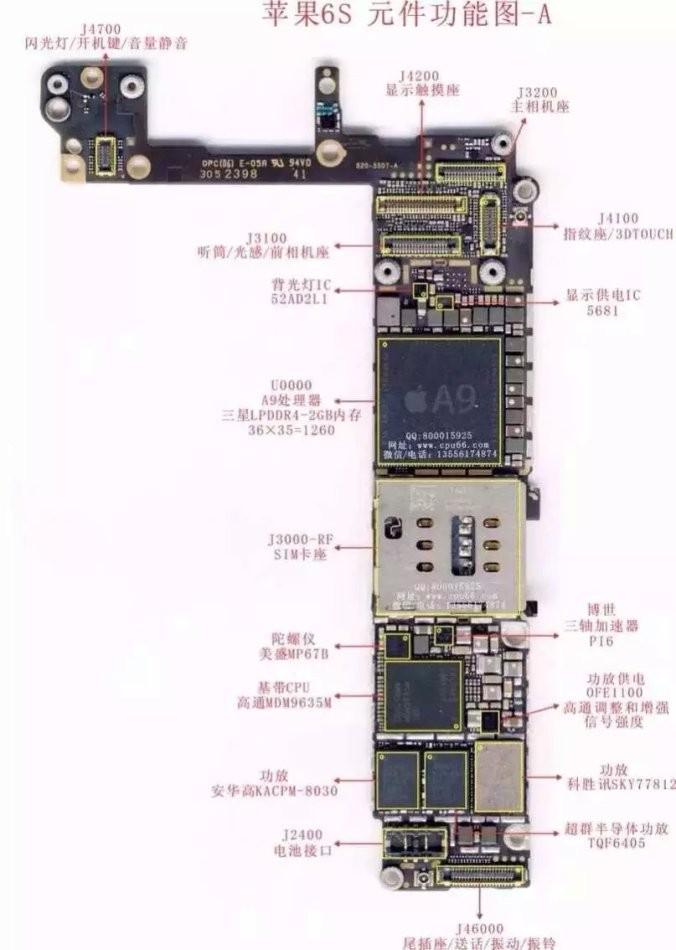以下是苹果6splus主板架构维修图